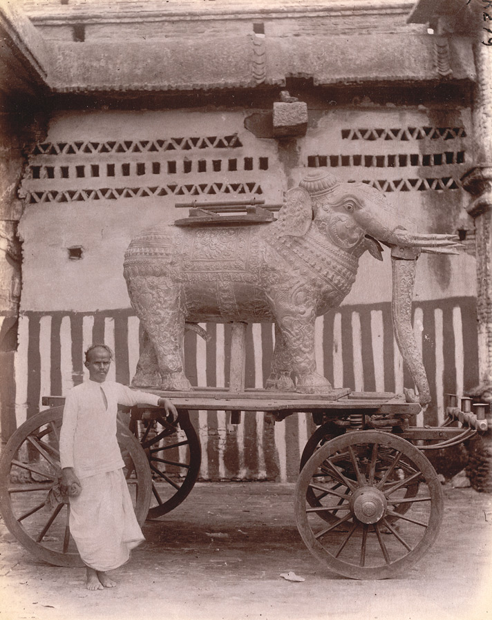 Silver and gold-plated vahana in the form of an elephant in the Kumbheshvara Temple, Kumbakonam